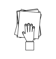 person hand with Pile of papers vector image