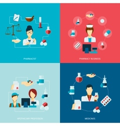 Pharmacist icon flat set vector image