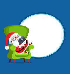 Photo frame with santa claus resting in armchair vector