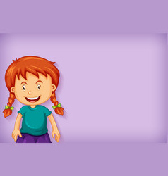 Plain background with happy girl in green shirt vector