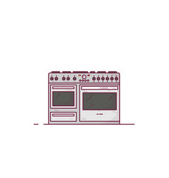 Professional stove line style vector