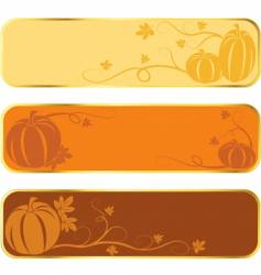 pumpkin banners with gold rim vector image