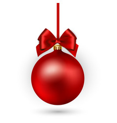 red christmas ball with ribbon and bow on white vector image