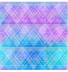 retro triangle pattern with watercolor texture vector image