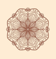 round decorative floral mandala element on beige vector image
