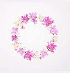 Round floral frame flower lily blossom vector
