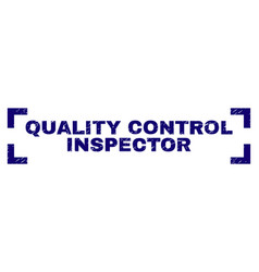 Scratched textured quality control inspector stamp vector