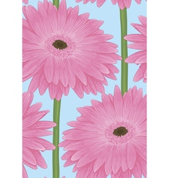 Seamless background with pink gerbera flower vector