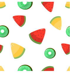 seamless pattern melon kiwi and watermelon vector image