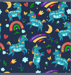 seamless pattern with cute unicorns and rainbows vector image