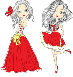 Set Beautiful fashion girls in red dressed vector image vector image