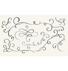 Set of art calligraphy flourish vintage decorative vector