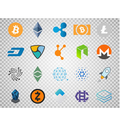 Set of cryptocurrency icons top 20 signs vector