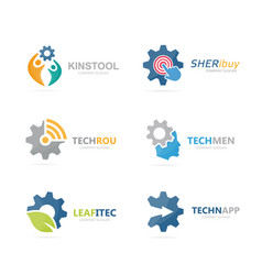Set of gear logo combination mechanic vector