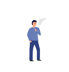smoker standing with cigarette vector image