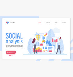 social analysis landing page flat template vector image