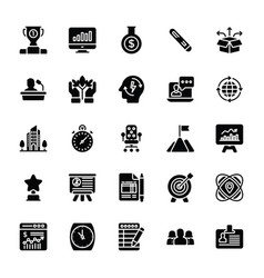 Startup and new business glyph set vector