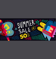 Summer sale 50 discount colorful poster vector