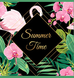 Summer time sale banner frame on dark background vector
