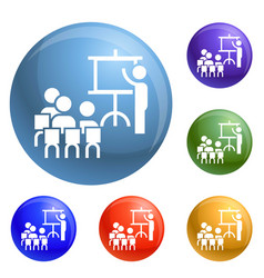 team work conference icons set vector image