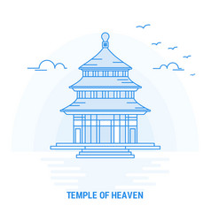 Temple of heaven blue landmark creative vector