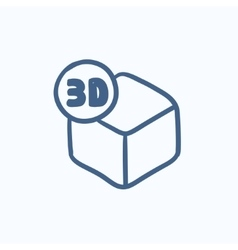 Three D box sketch icon vector image