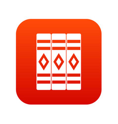 Three literary books icon digital red vector
