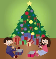 twins opening christmas gifts vector image