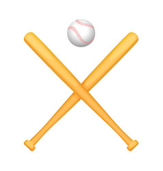Two crossed baseball bats with small white ball vector