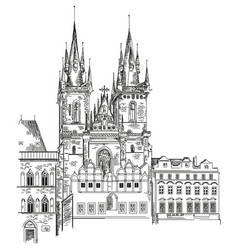Tyn church in prague vector