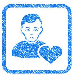 User favourites heart framed stamp vector