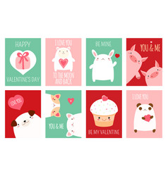 valentine banner with cute animals vector image