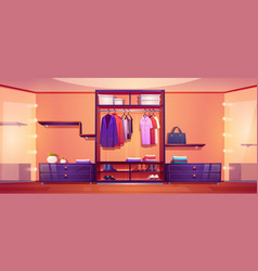 Walk in closet with men wardrobe and mirrors vector