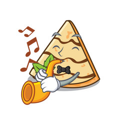 With trumpet crepe mascot cartoon style vector
