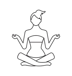 Woman in pose yoga in style monoline vector