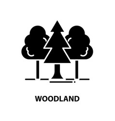 Woodland icon black sign with editable vector