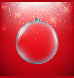 xmas ball red background vector image