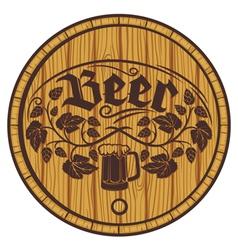 barrel of beer wooden barrel for beer vector image vector image