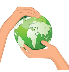 Encourage hands save planet vector image
