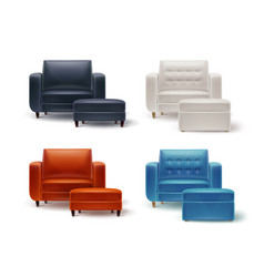 set of armchairs with poufs vector image vector image