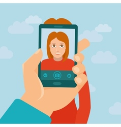 Taking photo with mobile phone vector image vector image