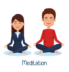business people meditation lifestyle vector image