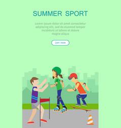 children going in for sport web banner poster vector image vector image
