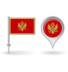 Montenegro pin icon and map pointer flag vector image vector image