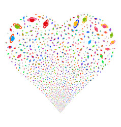 planet saturn fireworks heart vector image