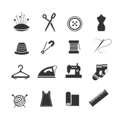 Sewing fashion needlework tailor icons vector