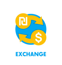 shekel to dollar exchange icon on white vector image vector image