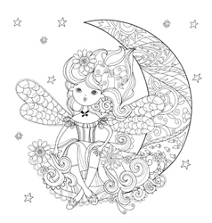 Cute fairy girl in flowers vector