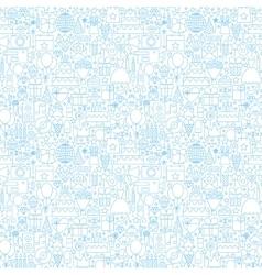 Line birthday white seamless pattern vector