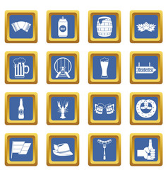 oktoberfest icons set blue vector image vector image